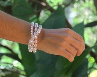 Pearl and Pavè Crystal Bracelet, Multi strand Pearl Bracelet, Ivory Pearl Wedding Cuff, Pearl Bridesmaid Bracelet, CARMEN 4