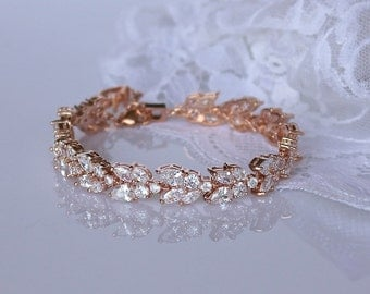 Rose Gold Crystal Bracelet, Rose Gold Bridal Bracelet, Crystal Leaf Bracelet, Rose Gold Bridal Jewelry, Wedding Jewelry, CLEO RG