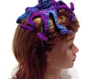 Purple Octopus, Octopus Headband, Amigurumi Octopus, Octopus Costume, Metal Headband, Octopus Cosplay, Costume Headband, Octopus Hair Band