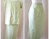 1950s 60s Green polka dot cotton maternity set / straight skirt & tunic top, pregnancy suit
