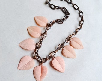 1930s Pink celluloid & brass leaf necklace / 30s plastic charm necklace