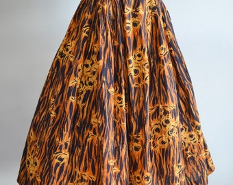 1950s Ochre & black painted rose print pleated skirt / 50s novelty print cotton day skirt - XXS XS