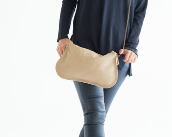Nude Leather Bag, Crossbody Leather Purse, Wristlet Clutch, Soft leather hobo bag, Leather makeup bag, Party Bag, Leather Strap Bag