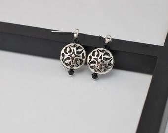 Antique Silver Earrings, Silver Filigree Earrings, Black and Silver Earrings, Silver Gothic Earrings, Victorian Style Earrings,Free Shipping