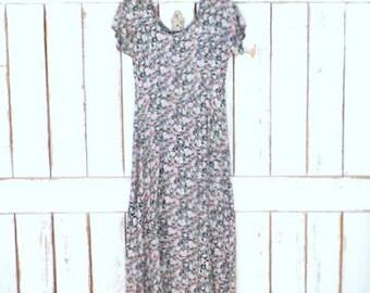 90s vintage All That Jazz floral maxi dress/1990s grunge long floral dress