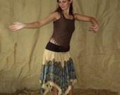 S-XL Bohemian gypsy pointy elven skirt Bellydance