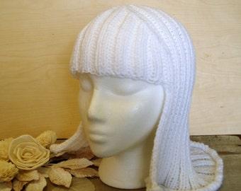 White Hat Hair Knit Wig Yarn wig Anime hair