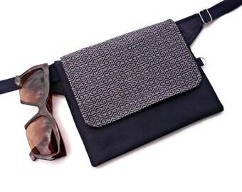 Vegan Waist Pouch,Cell Phone Belt Bag,Epipen Holder,Mini Funny Pack,Small Pocket BumBag,Dog Treat Pouch,Vendor Money Belt,Blue Traveler Bag