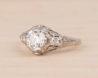 RESERVED FOR G----Edwardian Platinum Solitaire 1.20ct Filigree Diamond Engagement Ring