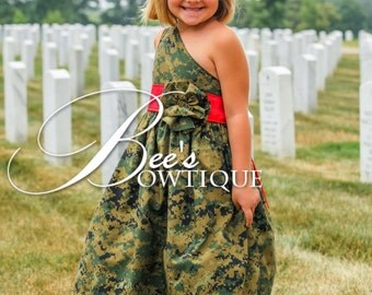 One shoulder military camo dress -welcome home, patriotic,