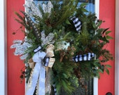 Evergreen and Gingham Wreath