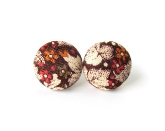 Brown floral fabric earrings  - tiny button earrings - small stud earrings vintage style leaf - birthday gift for her