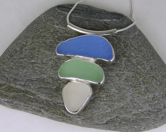Three Color Sea Glass Bezel Pendant Necklace