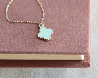 SALE, Four Leaf Clover Necklace, Four Petal Flower Necklace, Tiny Four Leaf Clover necklace, Light Blue Flower Necklace,Dainty Necklace
