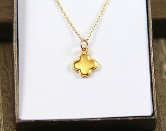 SALE, Flower Necklace, Gold Clover Necklace, Clover Necklace, Tiny Clover Necklace, Four Leaf Clover Necklace, Dainty Necklace, Gold Jewelry
