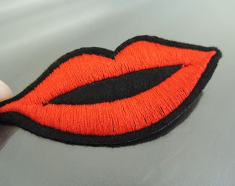 Iron on Patch - Long Sexy Lip Patches Iron on Applique embroidered patch Red Iron on Patch Sew On Patch