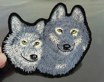 Large Iron On Patch or Sewing on Embroidery Grey Wolf Patch Two Wolves Patches Appliques Full Embroidered Patch