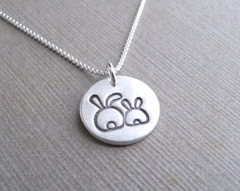 Tiny Mother and Baby Rabbit Necklace, New Mom Necklace, Fine Silver, Sterling Silver Chain, Made To Order