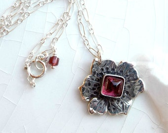Little Garnet Poppy - Love, Inspiration, Birthstone - Rose Rhodolite Garnet and Sterling Silver