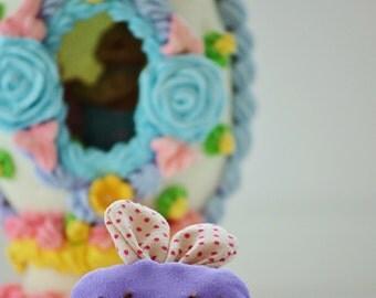 Lavender colored stuffed bunny hair clip, alligator clip