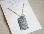 Wander Necklace, Quote necklace, Not all those who wander are lost, czech glass, explore necklace