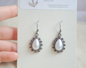 Pearl and Crystal earrings, Cocktail earrings, Funky earrings, Pink and pearl earrings