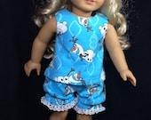 Olaf print 18 inch doll pajamas fits american girl sized doll