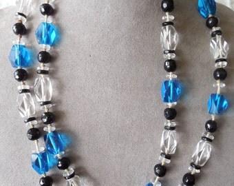 Blue & Black Czech Glass Flapper Bead Necklace