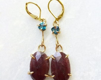 TOPAZ//SAPPHIRE & GOLD earrings