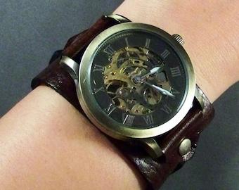 Leather Watch-Steampunk Watch Men-Mechanical Watch-Mens Watch-Women Watches-Skeleton Watch Men-Mens Wrist Watch-Mens Watch Leather-Gifts