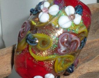 Handmade Floral Glass Focal Bead