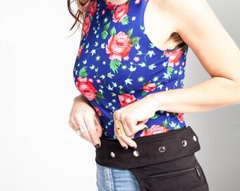 Black Fanny Pack/Utility Belt Bag/Travel Waist Bag/Hand Free Bag