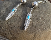 Feather Earrings Silver Dangle and Drop Earrings, Feather Jewelry, Gifts for Her, Stocking Stuffer, Christmas gifts, Indian Jewelry, gifts