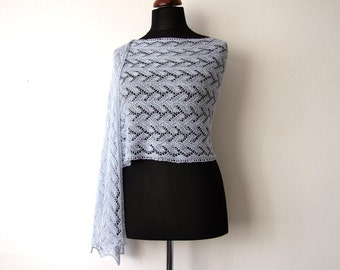 ON SALE 20% OFF lace stole, alpaca silk shawl, blue, handknit, luxurious, classic and elegant