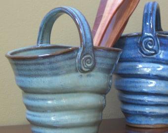 Basket Vase Hadmade Pottery Ceramic Vase Vanity Organizer