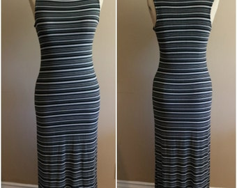 90's Sleeveless Striped Stretchy Maxi Dress - Size Large - Made in USA - Grunge