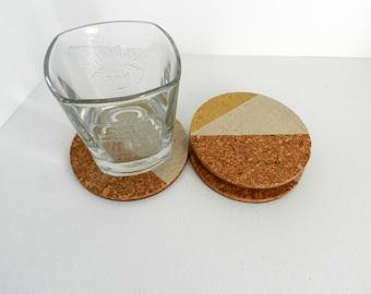 Geometric Cork Coaster - Housewarming Gift - Round Cork Coaster - Wine Lover Gift - Triangle Cork Coaster - Beer Coasters - Coffee Coaster