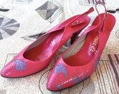 8, 8.5 Fuchsia Leather Heels with Lavender Applique