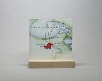 Nautical New Orleans Louisiana Map on Metal Hometown City Gift for Graduate Men or Women
