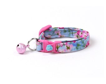 Floral Cat Collar - Spring Flowers on Blue - Pink Cherry Blossoms - Kitten or Large Size