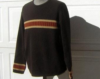 Vintage 70s Mens Ski Sweater Heavy Wool Loom Knit - Dark Brown  ColumbiaKnit Thunderbird - Lg