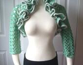 Free shipping, christmas gift, hand made gift, crochet wedding shrug, wedding shawl, women accessories, gift ideas