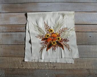 Vintage Needlepoint Botanical Pillow Panel