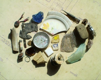 22 Found Objects for Altered Art, Sculpture or Assemblage - Salvaged Supplies - Bone Metal Stone Ceramic Plastic Glass