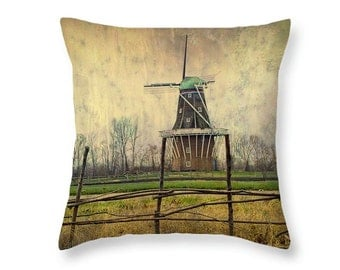 DeZwaan Dutch Windmill Throw Pillow with Texture on Windmill Island in Holland MI No.0232 decorative novelty pillow Home Décor cushion cover
