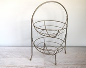 Vintage Fruit Basket, Tall Wire Kitchen Organization, Chrome Metal Holder with Handle, Mid Century Decor