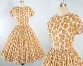 Vintage 50s Jonathan Logan Dress / 1950s Cotton SUNDRESS Mustard YELLOW Bown Painterly Floral Print Full Swing Skirt Garden Party M Medium