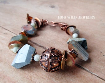 Handcrafted Artisan Women's Jasper Gemstone Copper Bali Bead Bracelet