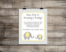 How Big is Mommy's Belly Sign, Yellow Elephant Baby Shower Game Sign, Gender Neutral, Grey Chevron, DIY Printable, INSTANT DOWNLOAD