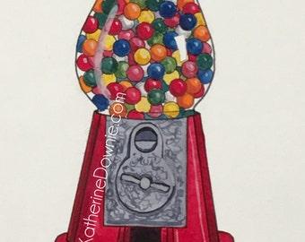 Watercolor Gumball Machine Print
